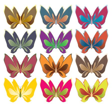 Bright color butterflies isolated on white Stock Photo