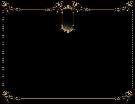 metalwork: Gold black elegant design on a black background