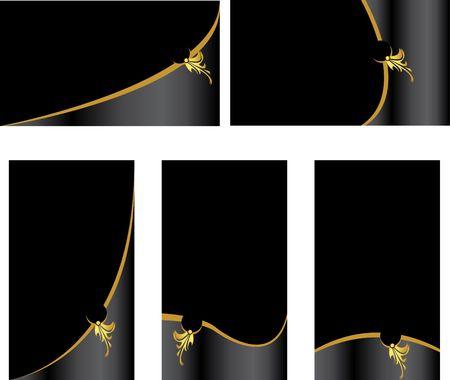 Zwart en goud visitekaartje reeks geïsoleerde