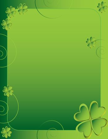 Four leaf clover frame design page Stock Photo