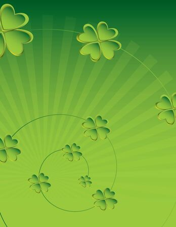 goodluck: Four leaf clover with ray background