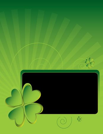 Four leaf clover design with smaller frame on ray background Stock Photo