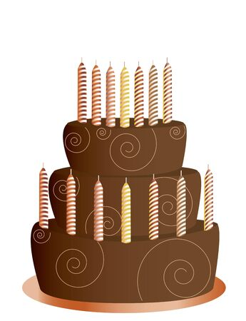 Chocolate birthday cake with candles isolated on a white background