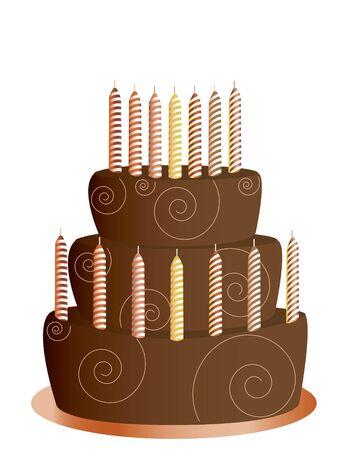 indulgence: Chocolate birthday cake with candles isolated on a white background