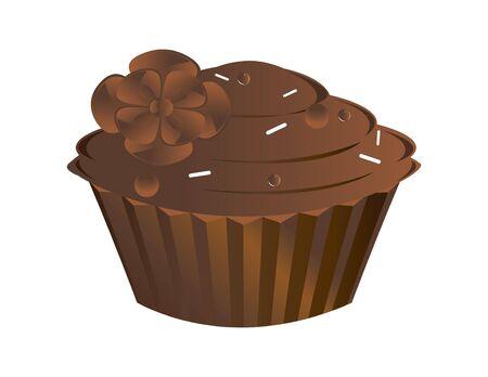 indulgence: Chocolate cupcake isolated on a white background
