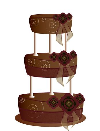 tier: Chocolate tier cake isolated on a white background