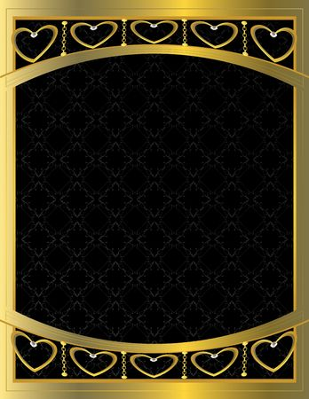 gold: Gold heart patterned  background with jewel detail