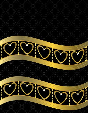 metallic background: Gold heart patterned  background with jewel detail