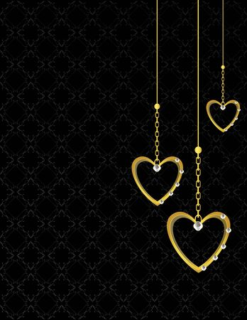 Gold heart patterned  background with jewel detail photo