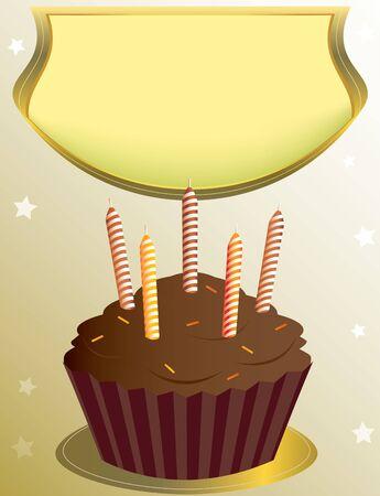 chocolate birthday cupcake with placard on tan star background photo