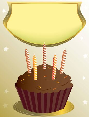 chocolate birthday cupcake with placard on tan star background Stock Photo