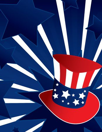 Uncle Sam hat with active blue  background photo