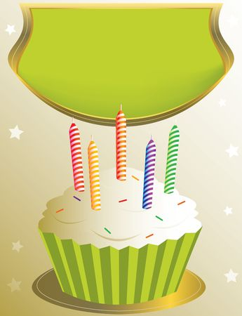 frosted birthday cupcake with placard on tan star background