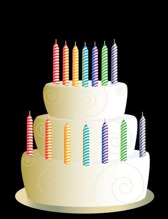 indulgence: White three layer birthday cake on a black background Stock Photo
