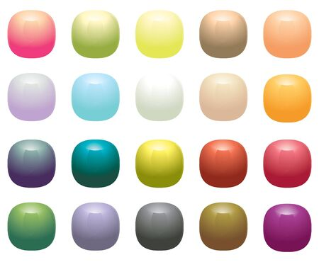 opaque: Glossy Opaque square buttons isolated on white