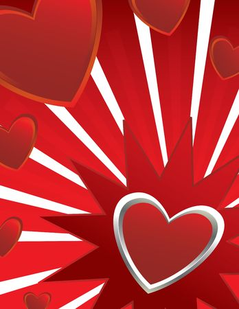 Hearts on white and red ray background ray background