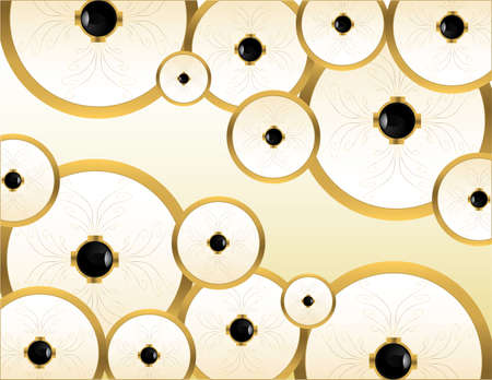Gold circular pieces on a cream background Stock fotó