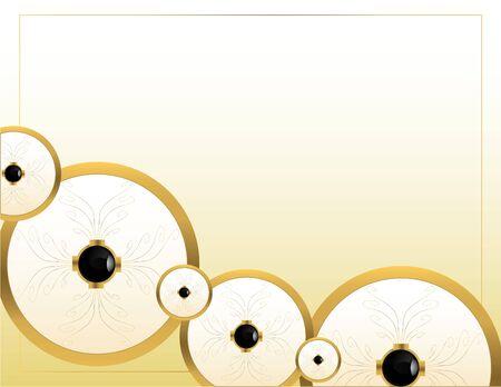 Goud circulaire stuks op een crème achtergrond Stockfoto