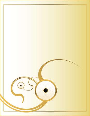 Gouden cirkelvormige stukjes op een crème achtergrond Stockfoto
