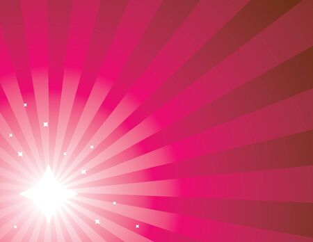 Pink radiating ray background with stars