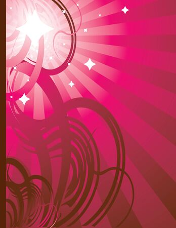 Pink radiating ray background with abstract design