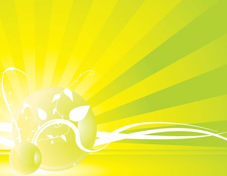 Yellow green radiating ray background with vines