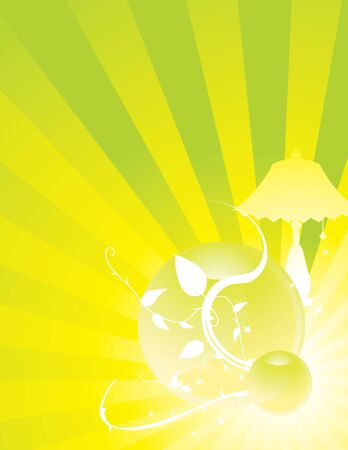 Yellow green radiating ray background with lamp