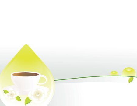 Tea cup drop white gray background with copy space Stock Photo