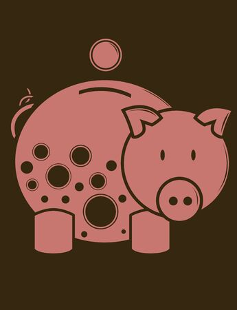Piggy Bank in one color on a brown background 版權商用圖片