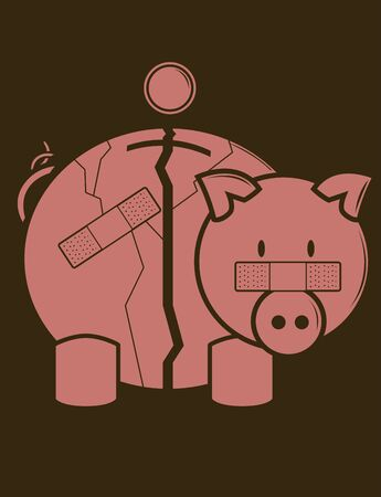 Piggy Bank in one color on a brown background Stock Photo