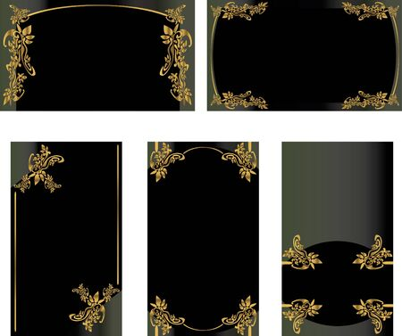 Black gold business card set isolated on a white background
