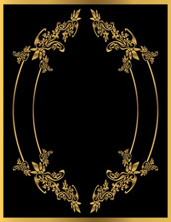 Gold floral frame on a black background Stock Photo - 4485718