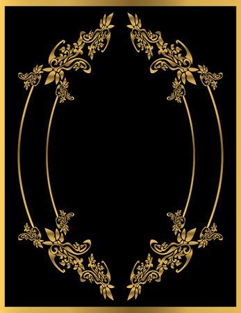 Or image floral sur un fond noir Banque d'images - 4485718
