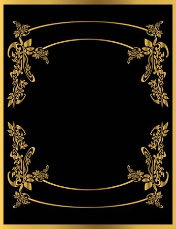 Gold floral frame on a black background