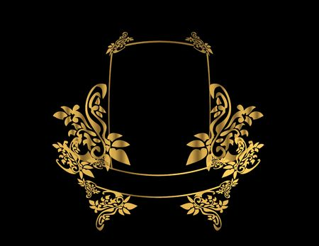 Gold floral frame on a black background Stock Photo - 4485716