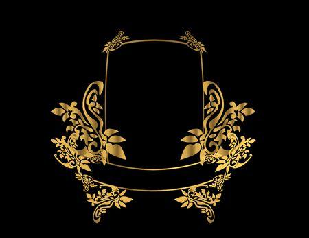 Marco de oro florales sobre un fondo negro Foto de archivo - 4485716