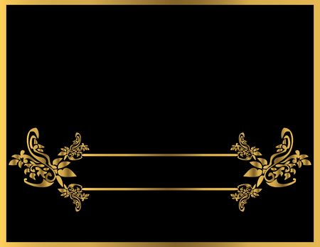 Gold floral frame on a black background Stock Photo - 4485715