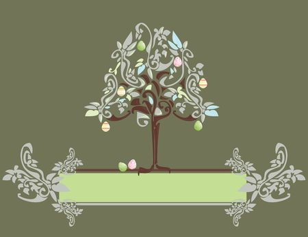 Abstract Easter egg tree banner with floral elements Stock Photo - 4500838