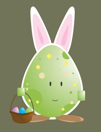 bunny ears: De huevos de Pascua con car�cter conejo orejas aislados en un fondo blanco