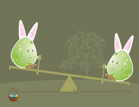 Easter egg characters with bunny ears  on seesaw