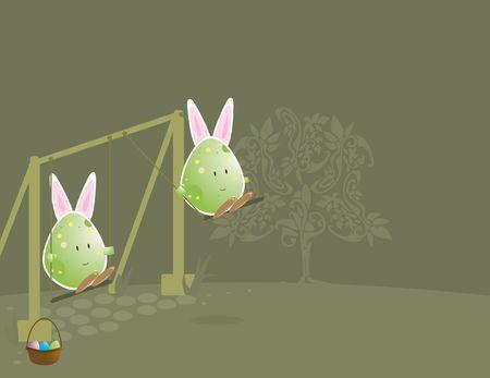 De huevos de Pascua con caracteres conejo orejas en columpio Foto de archivo - 4500835