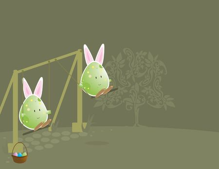 Easter egg characters with bunny ears  on swing set Stock Photo