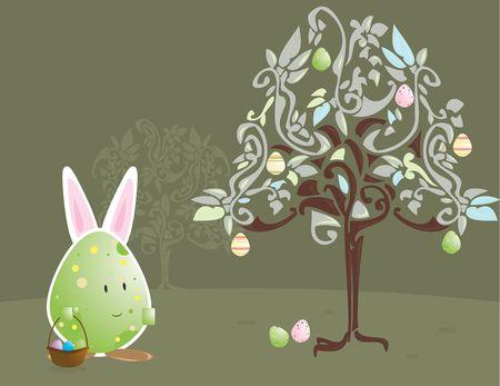 bunny ears: De huevos de Pascua con car�cter conejo orejas con huevo �rbol