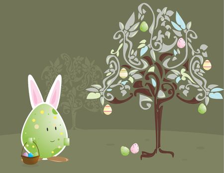 Easter egg character with bunny ears with egg tree photo