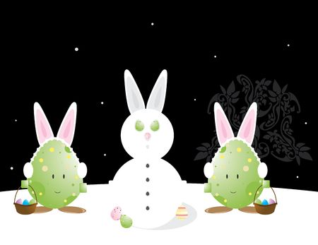 Easter egg characters with bunny ears in snow scene photo