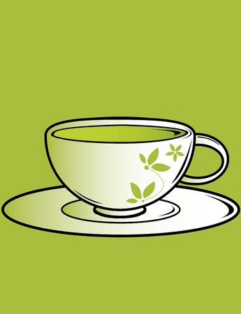 Tea cup with saucer on a green background