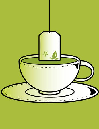 Tea cup with bag on a green background