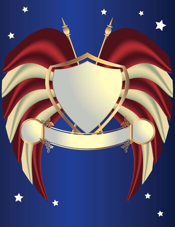 Red white and gold shield on a blue background with stars