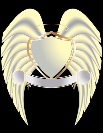 Gold and white shield with wings and halo isolated on black