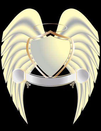 Goud en wit schild met vleugels en geïsoleerd op black halo